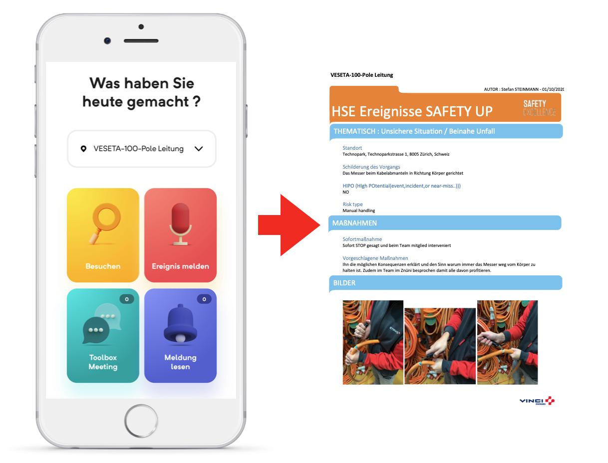 ETAVIS VINCI Safety Up App generiert PDF
