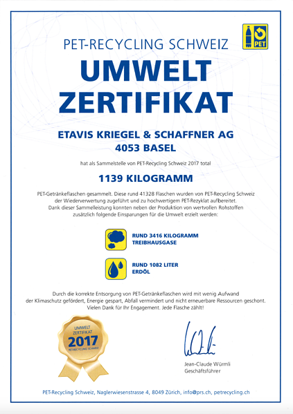 PET Zertifikat ETAVIS