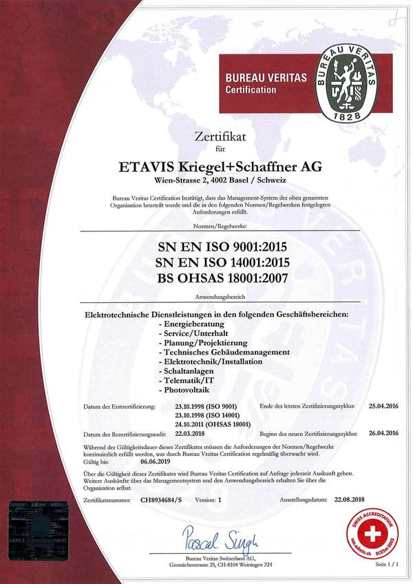 Vinci_ETAVIS-Kriegel+Schaffner-AG_Zertifikat
