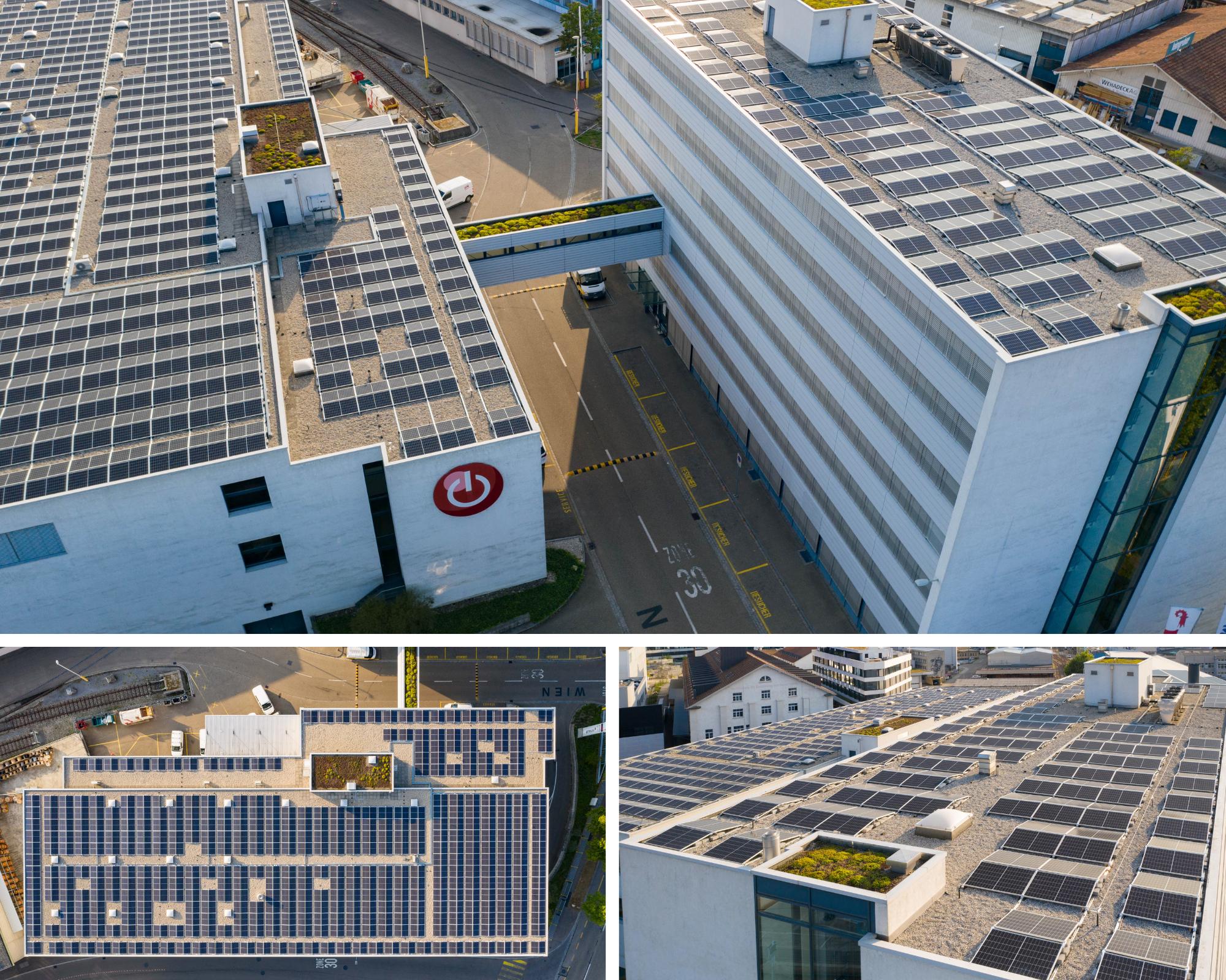 Collage Photovoltaikanlage ETAVIS Basel