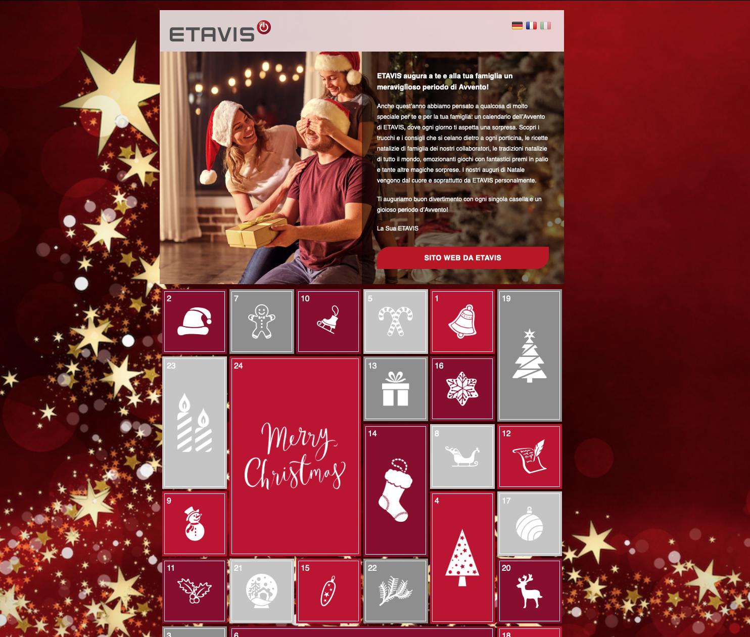 Calendario dell'Avvento ETAVIS 2020: fatevi sorprendere ogni giorno da noi